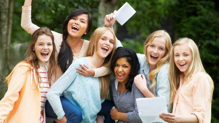 Students celebrating matric exam pass